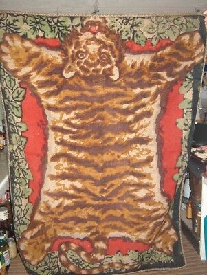 """Buggy Blanket Chase """"antique"""" W/tiger Full Body Rug Design Mohair Horse Hair Old"""