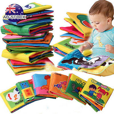 AU STOCK Baby Intelligence Development Educational Toy Soft Cloth Learning Books