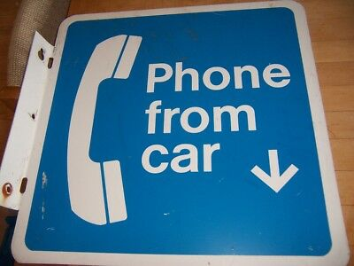Large Metal Pay Phone Sign In Blue Phone From Car W/ Flange New Old Stock