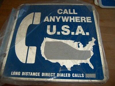 Large Metal Pay Phone Sign In Blue W/ Flange New Old Stock Call Anywhere Usa