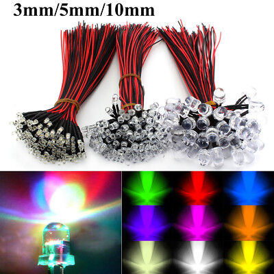 DC 9V-12V 3mm 5mm 8mm LED Bulb Pre Wired Light Emitting Diodes Small 20cm Wire