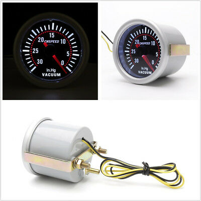 2''52mm Round Smoke Lens Car LED Display Vacuum Gauge 30-0 IN.HG Meter Universal