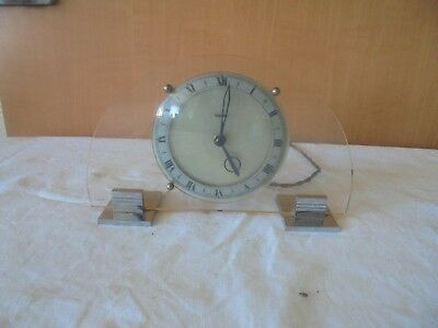 Art Deco Ferranti Electric Clock In Lucite And Chrome In Working Order