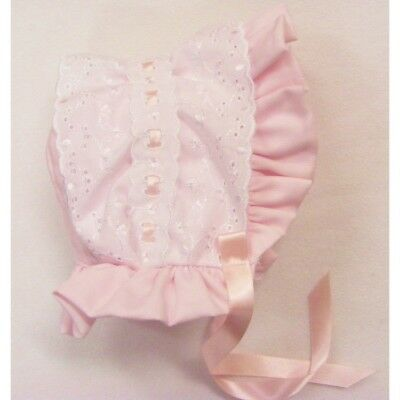 NEW STYLE Baby Girls Romany / Traditional Bonnet Sun Hat PINK & WHITE 6-12 month