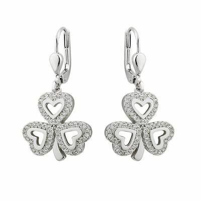 Cz Shamrock Drop Earrings