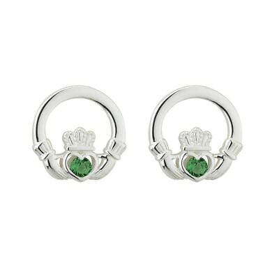 Green Crystal Claddagh Stud Earrings