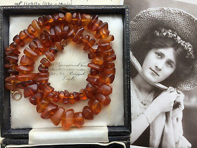 Antique Victorian Baltic Amber Necklace 9Ct Gold Clasp Re-Threaded