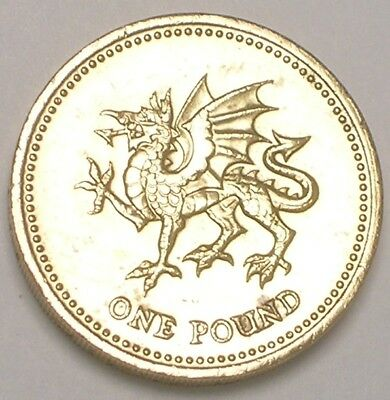 1995 UK Great Britain British One 1 Pound Welsh Dragon Coin XF