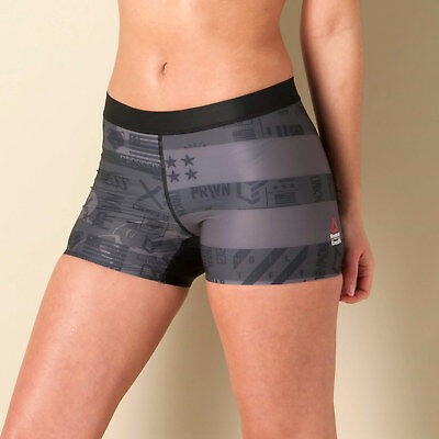 Womens Reebok Crossfit Pwr6 Compression Booty Shorts In Black
