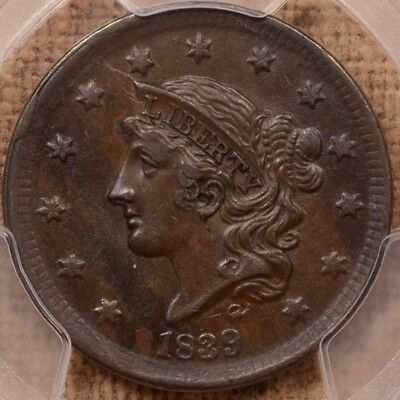 1839 N.9 Silly Head Large cent, PCGS AU55, very popular    DavidKahnRareCoins