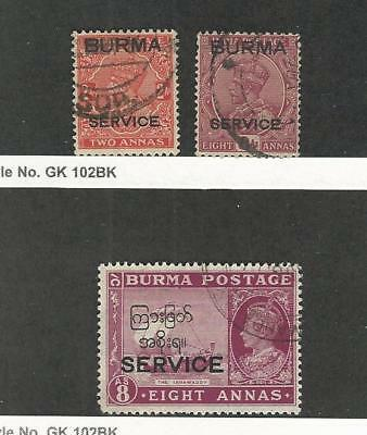 Burma, Postage Stamp, #O5, O9, O38 Used, 1937-46 Officials