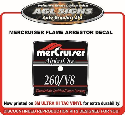 Mercruiser Alpha One 260/V8 Flame Arrestor Reproduction Decal   260