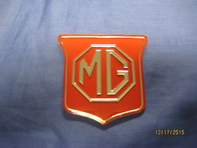 Mg New Mgb Roadster Or Gt Red / Silver Grill Badge   Bhh829  72-74 ***ob16