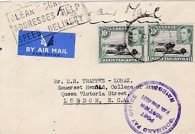 KUT british forces air mail c1950 cover posted to england with good cachet 43*