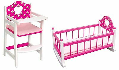 Wooden Dolls High Chair and Cradle - Pink and White Matching Set