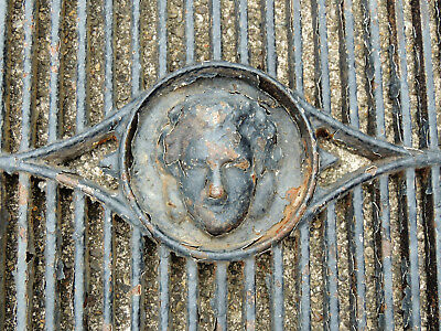 Antique vtg Victorian Figural Face Cast Iron WINDOW GRATE Vent Bars Cover 15x22""