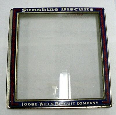 Vintage Sunshine Biscuits Store Display Lid With Glass