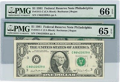 Fr. 1911C $1 1981 2 Consecutive Federal Reserve Note #86422629-30 65-66 EPQ PMG