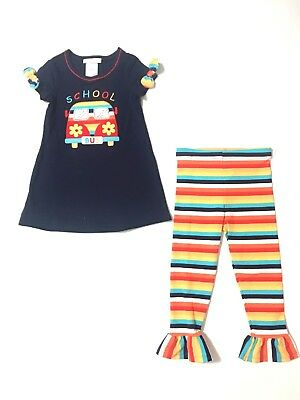 Bonnie Jean Girls Studious Owl Applique Back to School Fall Outfit 4 5 6 6X