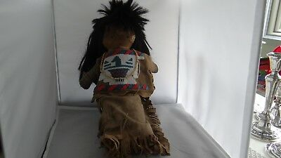 """Rare Vintage Antique Native American Sioux Indian Beaded Leather Doll 17"""""""
