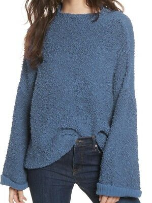 6fd9fb085b Free People NEW Blue Womens Size Small S Slouchy Popcorn Knit Sweater $128-  #755