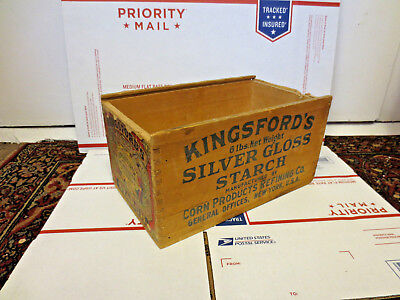 Kingsford's Silver Gloss Starch Wood Box   * Color Litho Label * Country Store *