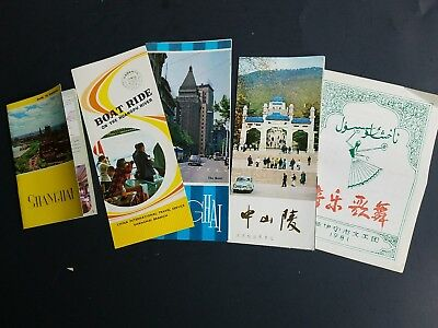 Lot of vintage Shanghai China travel brochures and menu