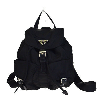eba0ec4c190336 Authentic PRADA Logos Backpack Bag Nylon Leather Black Made In Italy 33V2706