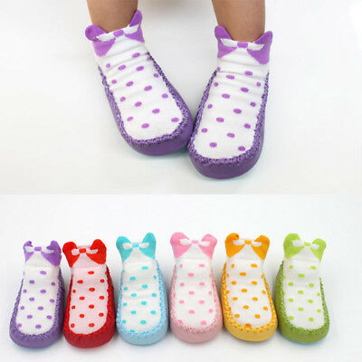 Newborn Toddler Baby Girls Boys Anti-Slip Socks Prewalker Slipper Shoes Boots