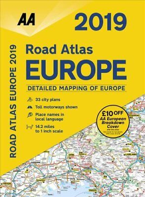 AA Road Atlas Europe 2019 by AA Publishing 9780749579678 (Spiral bound, 2018)