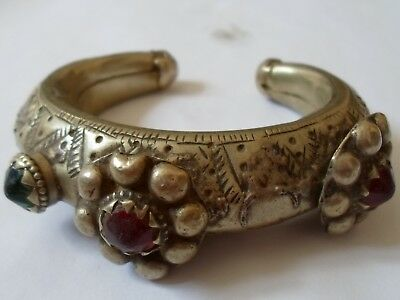 Absolutely Stunning, Museum Quality, Post Medieval Silver Bracelet W/glass Stone