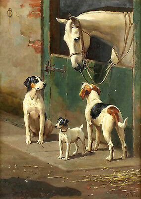 Vintage Painting Print On Canvas Ready to Hang Horse Terrier Hound Hunt Stable