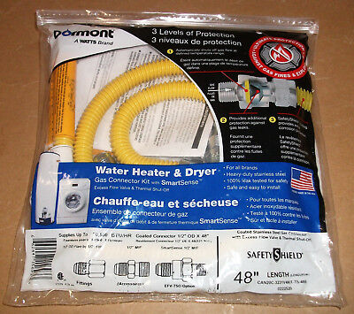 "Water Heater Dryer Gas Line Connection Kit Safety Shield 48"" Thermal/flow Valve"