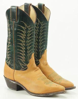 5432cc56f4a Women's Justin Green & Tan Leather Cowboy Western Boots Vintage US Made 6.5