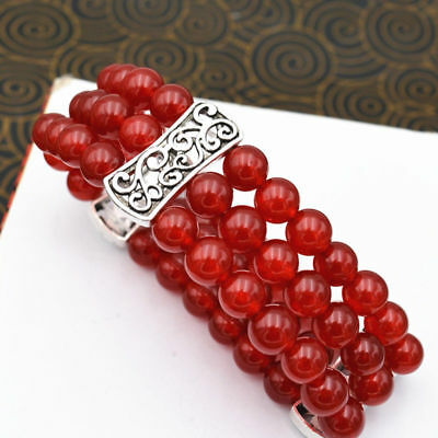 New Women's Natural 8mm red ruby Beads Stretch Tibetan silver Bracelet 3 row