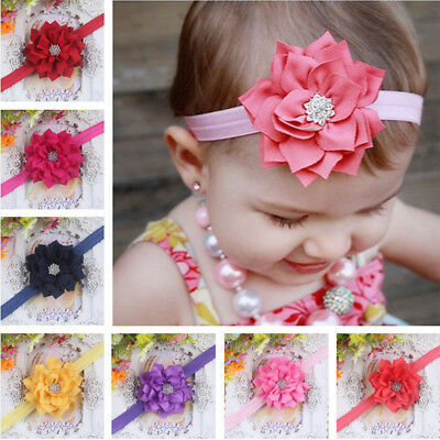 Girls Baby Headband Toddler Infant Bling Diamond Flower Hair Band Headwear USA