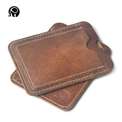 Fashion Men Women Genuine Leather Mini Slim ID/Credit Card Holder Purse Wallet