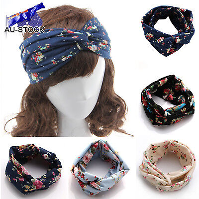 Women Flower Headband Sport Yoga Elastic Twisted Knotted Hair Band Turban Gifts