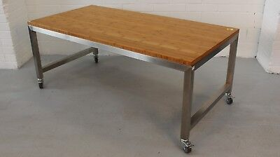 Office/Home Tomako Mobile Work Bench Table Bamboo Wood Metal Legs 35922/57