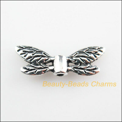 10Pcs Tibetan Silver Tone Animal Wings Spacer Beads Charms 8x22mm