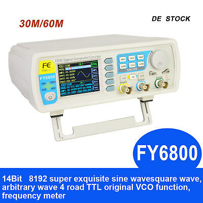 FY6800 Dual Channel DDS Function Arbitrary Waveform Signal Generator Pulse Meter