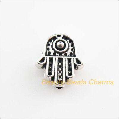 10Pcs Tibetan Silver Tone Hand Palm Spacer Beads Charms 10x11mm
