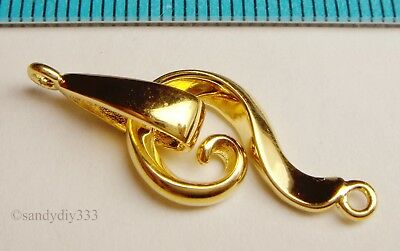 1x REAL 18K GOLD plated STERLING SILVER EYE S HOOK CLASP BEAD 30mm G031