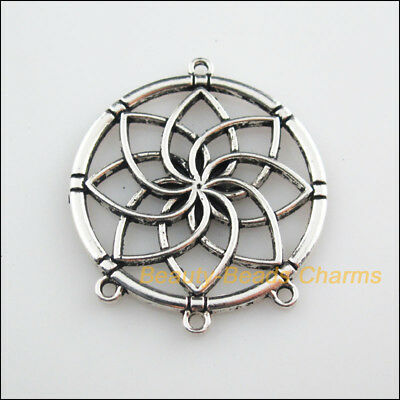 2Pcs Tibetan Silver Tone Round Flower Charms Connectors 35x40mm