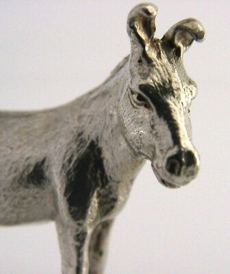 Solid Sterling Silver Cast Donkey Animal Figure London 2010 English