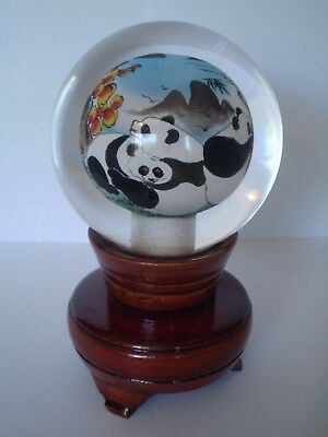 Stunning Reverse Painted Chinese Sphere On Wooden Stand, Panda Design