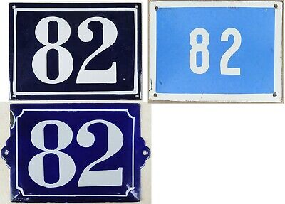 Large old blue French house number 82 door gate plate steel enamel sign - choice