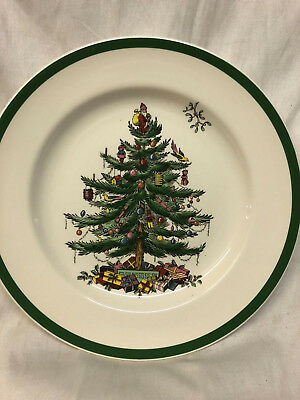 """Spode England Decorated Christmas Tree Dinner Plate 10 3/8"""" Green Band New Stamp"""
