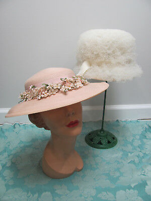 LOT-2) VTG HATS 50s GARDEN PARTY BLUSH PINK* CARTWHEEL w/FLOWERS & CUPCAKE TULLE