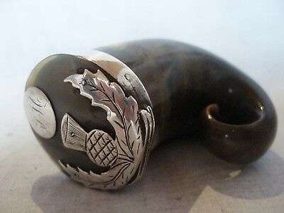 Rams Horn Snuff Mull Sterling Silver Circa 1840